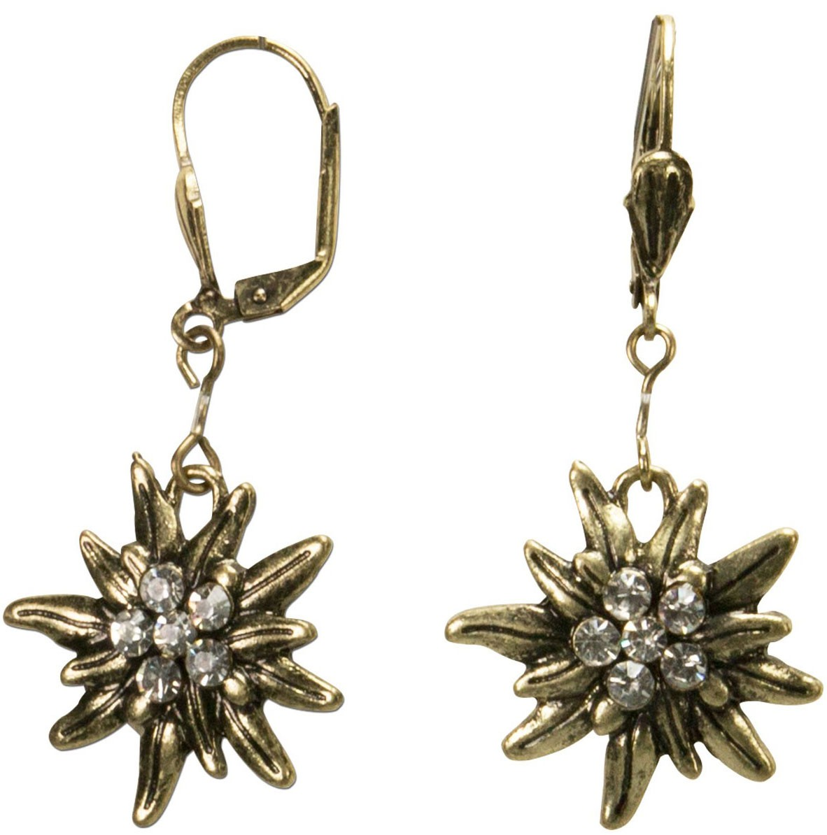 Traditional earrings Edelweiss old gold
