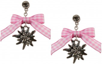 Bow Earringswith Pendant, Rose-Checked