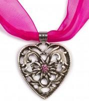 Chiffonband Herzkette mit Stein, pink Pink