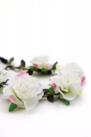 Vorschau: Haarband mit Rosen in Weiß-Rosa