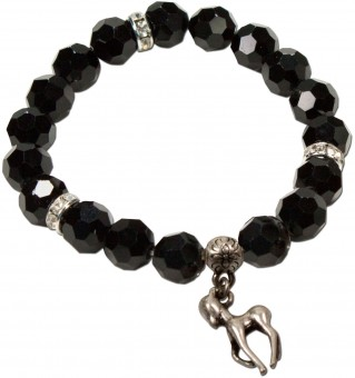 Trachten Pearl Bracelet with Fawn Charm, Black