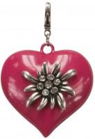 Vorschau: Trachten-Anhänger Edelweiß-Herz pink