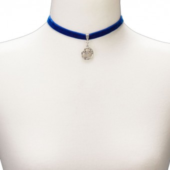 Samtkropfband breit mit Trachtenherz blau