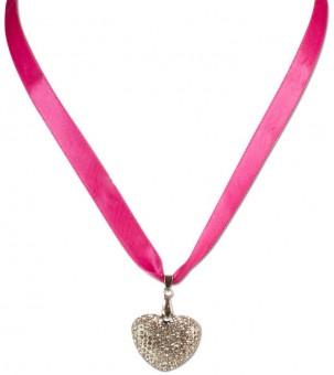 Satin Halskette mit Strassherzerl pink