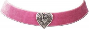 Thick Velvet Choker with Heart Pendant, Rose Pink