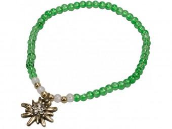 Trachten Perlenarmband Edelweiß grün