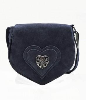 Wildledertasche in Herzform blau