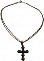 Vorschau: Halskette Strass-Kruzifix schwarz