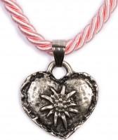 Vorschau: Kordelkette mit Edelweiß Herz, rosa