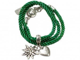 Braided Bracelet with Silver Charms, Green