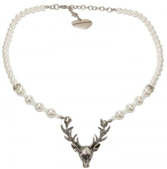 Pearl necklace with deer head pendant cream-white