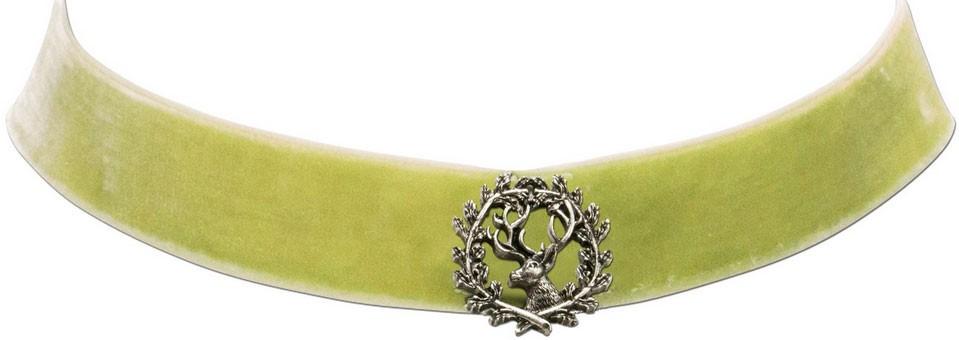 Trachten Kropfband mit Hirsch hellgrün