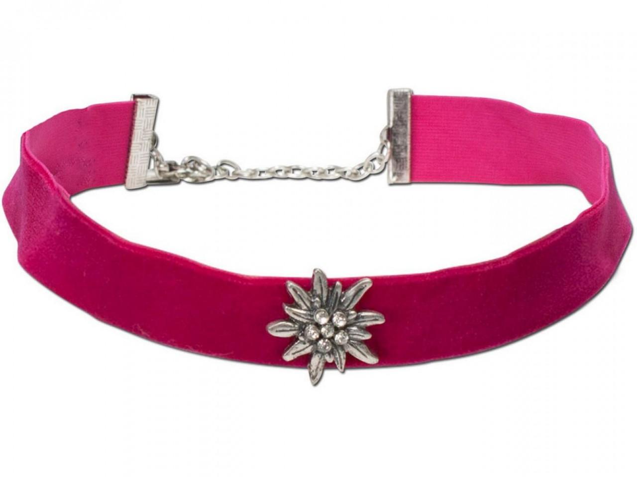 Samtkropfband breit mit Edelweiß pink