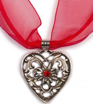 Chiffonband Herzkette mit Stein, rot