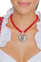 Vorschau: Kordelkette mit Edelweiß Herz, rot