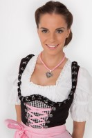 3-piece black midi dirndl with black gingham skirt