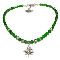 Vorschau: Perlenhalskette kleines Edelweiß grün
