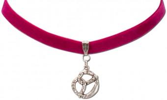 Trachten Samtkropfband Brezel pink