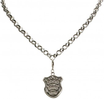 Trachten Shield Pendant, Antique Silver