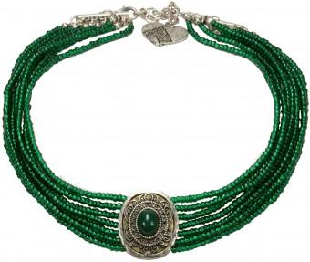 Perlenkropfkette Alice grün