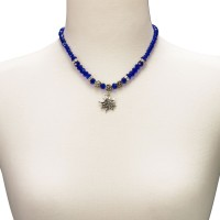 Preview: Trachten Pearl Necklace with Edelweiss, Blue