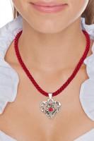 Vorschau: Kordelkette Herz mit Stein, bordeauxrot