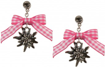 Bow Earringswith Pendant, Pink-Checked