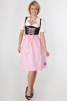 3-piece black dirndl with floral patterned skirt