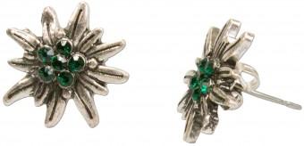 Mini traditionele oorbellen groene edelweiss