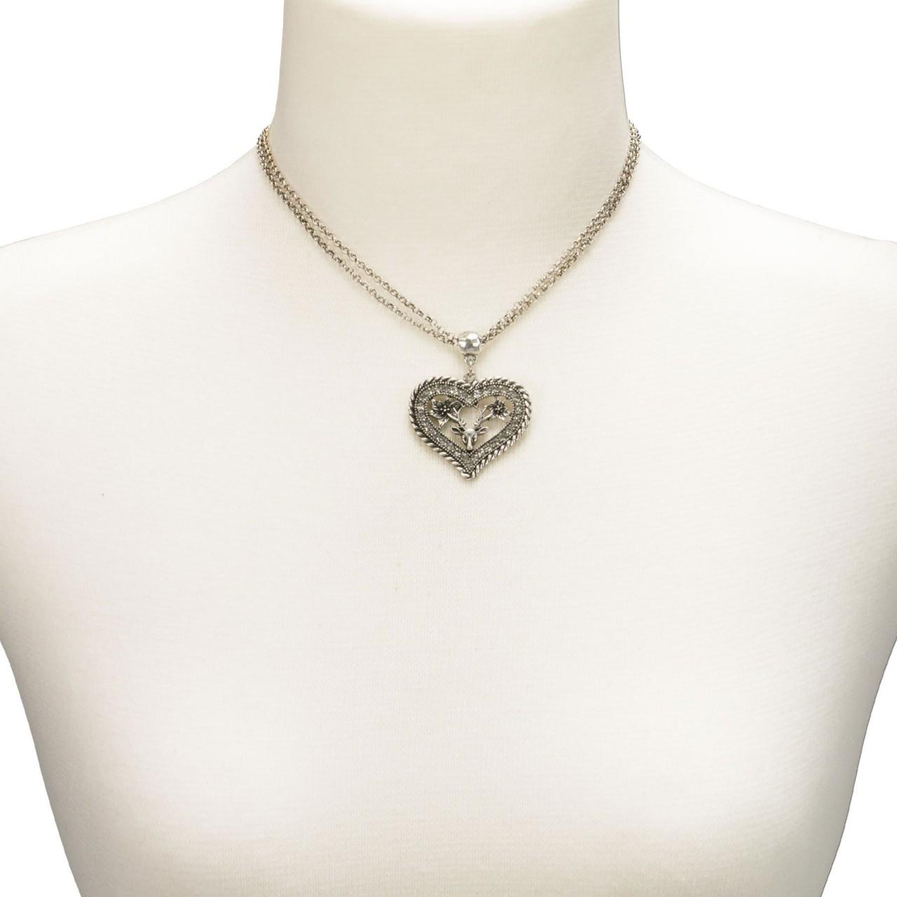 Halskette Strassherz altsilber