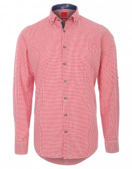 Trachtenhemd Olymp rot/weiß kariert