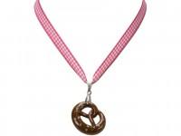 Vorschau: Trachten Halskette Brezel pink