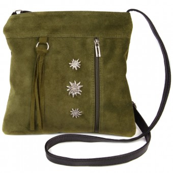 Zamszowa torba na ramię oliwkowa