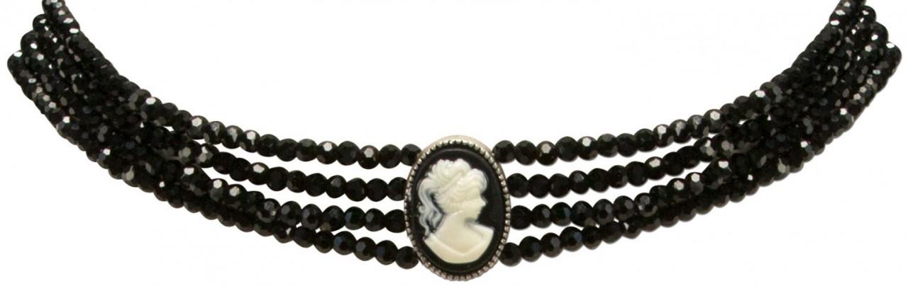 Perlenkropfkette Sissi schwarz