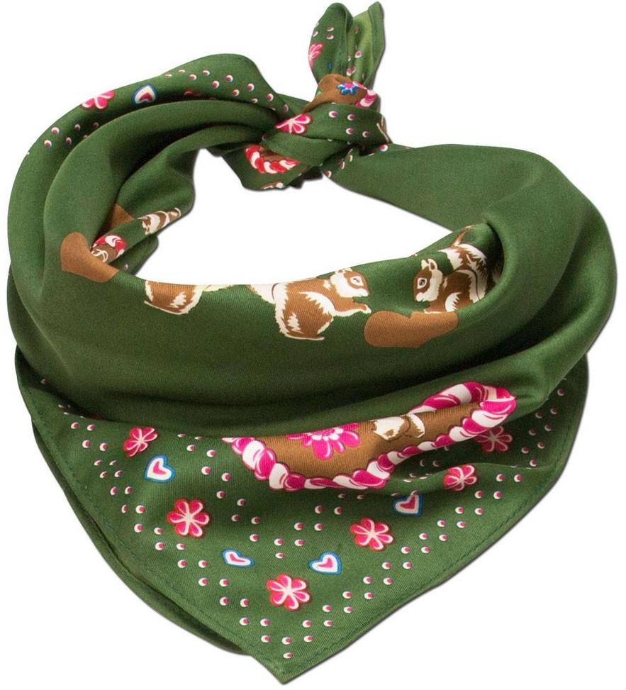 Nicki Trachtentuch mit Eichhörnchen-Motiv grün