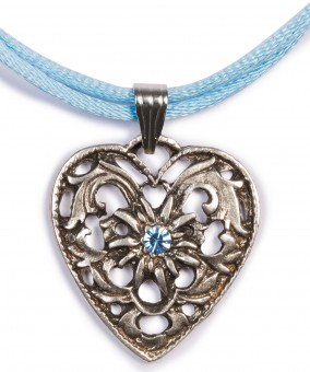 Satin Necklace with Heart Pendant, Light Blue