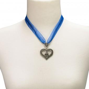 Organza Trachtenkette Maria blau