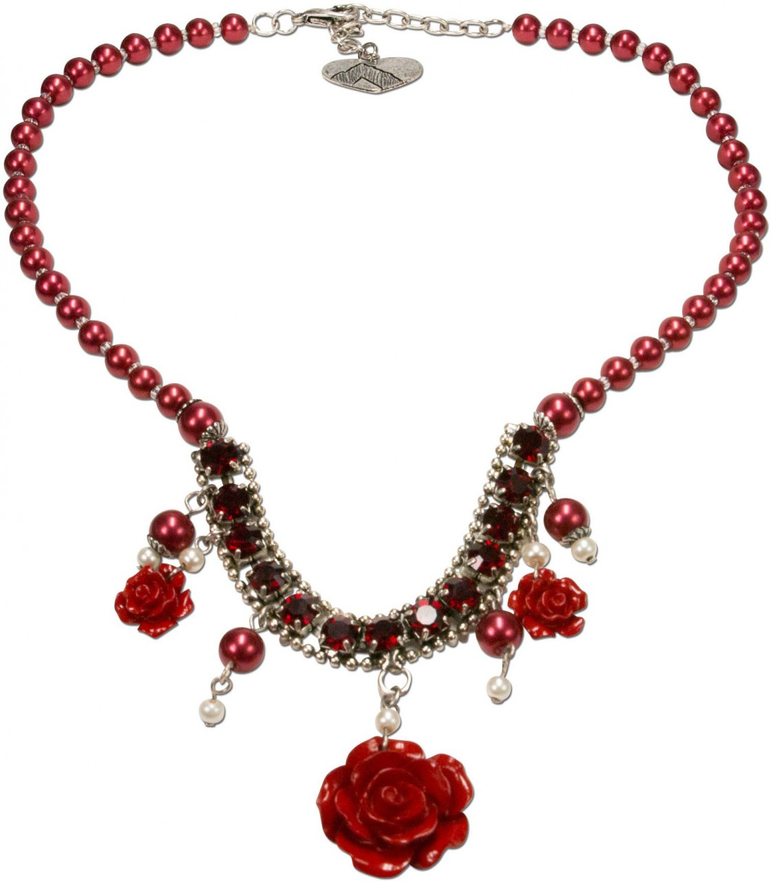 Perlenkette Blütentraum rot