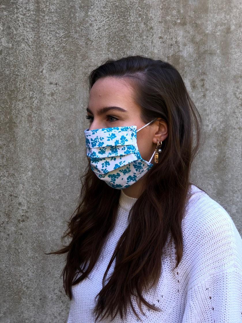 Mund-Nasen-Maske Blüten türkis