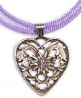 Vorschau: Herzkette mit Stein und 2 Satinbändern, lila