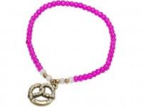 Trachten Perlenarmband mit Strass-Brezel pink