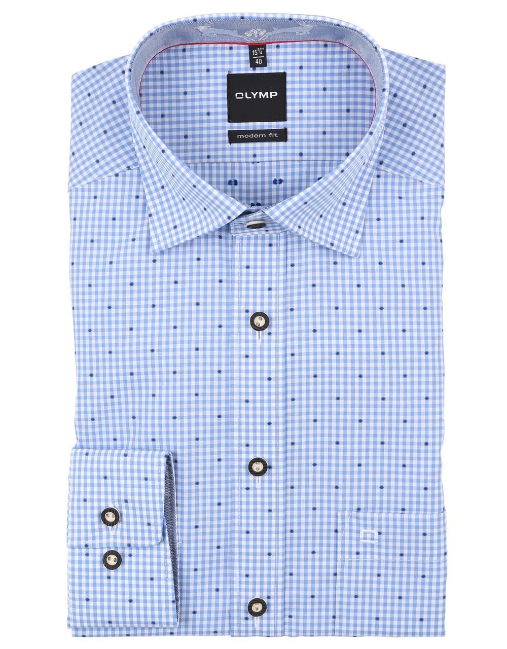 Chemise de Trachten Olymp bleue/blanche à carreaux