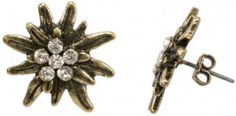 Earrings, Rhinestones, Old Gold