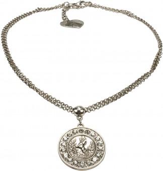 Halskette Glitzerhirsch altsilber