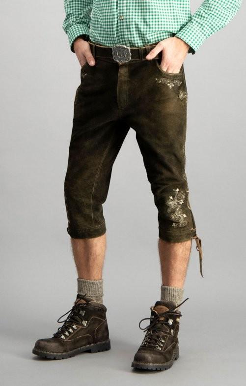 Lederhose longueur genoux Sigmar marron foncé