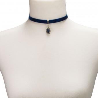Samtkropfband Beatrice blau
