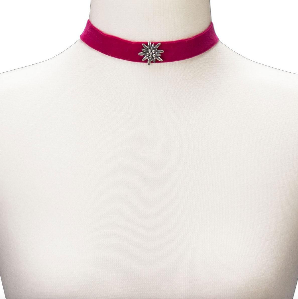 Fluwelen jurk breed met edelweiss roze