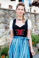 Maria dirndl, red Elegant red dirndl featuring a blue apron