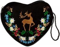 Vorschau: Herz Trachtentasche schwarz mit Hirsch und Blumenranke