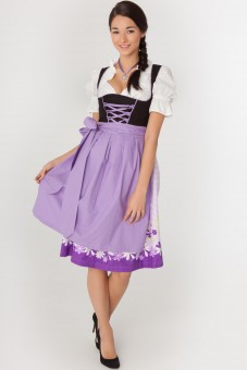 3-piece black midi dirndl with purple gingham skirt